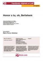 Honor a tu, oh Betlehem!-L'Esquitx (separate PDF pieces)-Music Schools and Conservatoires Elementary Level-Scores Elementary
