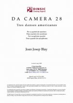 Da Camera 28: Three American Dances for Saxophone Quartet-Da Camera (digital PDF copy)-Scores Elementary