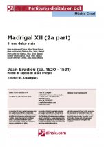 Madrigal XII (2a part)-Música coral catalana (piezas sueltas en pdf)-Partituras Intermedio